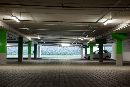 Floor of underground parking lot photo