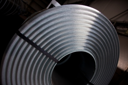 Detail of steel plate coil Stock Photo