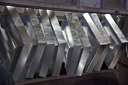 Hot dip galvanizing process of steel Stock Photo