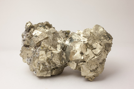 source of iron: Sample of golden pyrite - source of iron and sulfur Stock Photo
