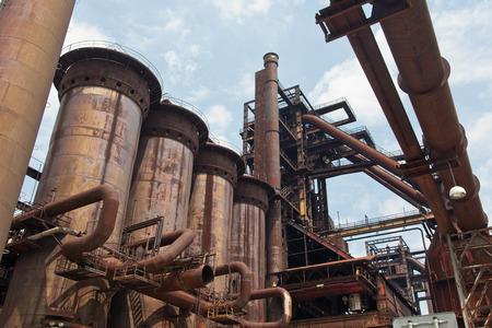 steel works: Detail of steel works industry, blast furnace Stock Photo