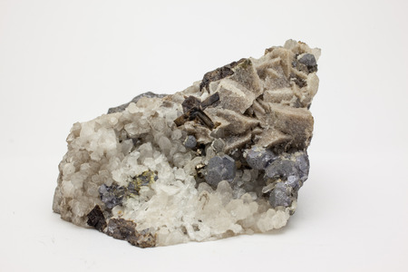 sulphide: Galena - PbS, important ore of lead and silver, Quartz and Siderite