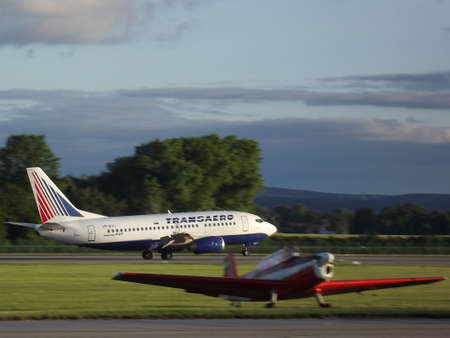 Boeing B737 Transaero Airlines landing at the airport in Pardubice