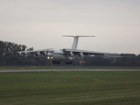 td: Ilyushin IL76 TD landing at the airport in Pardubice