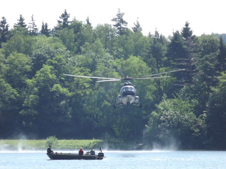 helicopter Mi17 above the dam
