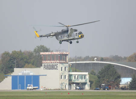 mi: MI 17 helicopter during training at the airport in Pardubice