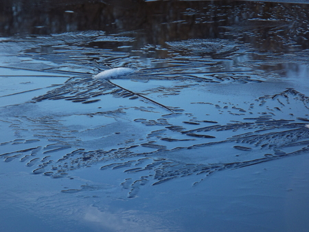 ice dam: abstract shapes created by ice on the water surface