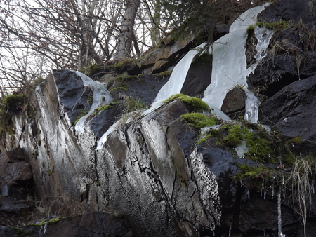 ice dam: ice on a rock at Sec dam in eastern Bohemia