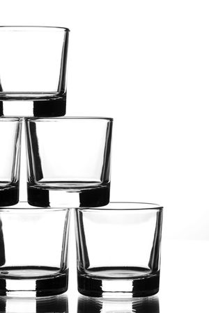 uploaded: uploaded several glasses of liquor on top of each other Stock Photo