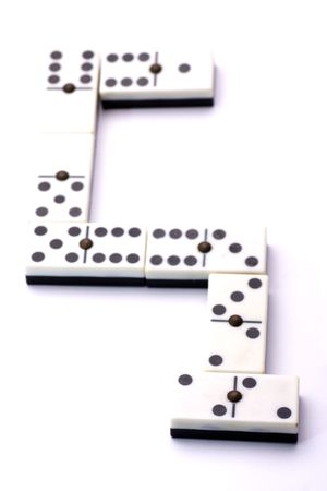 some dominoes among them forming an S