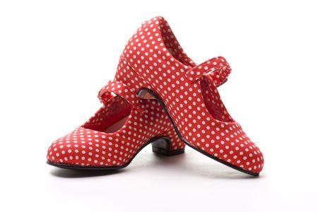 flamenco dancer: zapatos rojos con manchas blancas, t�picos del bailar�n de flamenco Foto de archivo