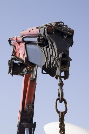 a telescopic crane of a working truck Stock Photo