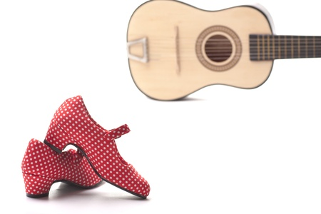 spanish guitar: Spanish guitar and red shoes to dance flamenco