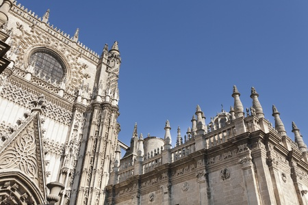 facade of the cathedral of Seville, the largest Catholic cathedral in the world Stock Photo
