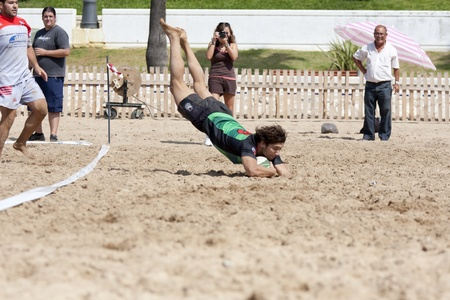 annotation in a game of beach rugby