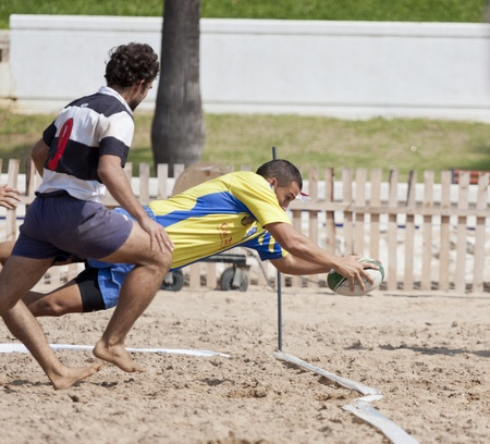 annotation: annotation in a game of beach rugby