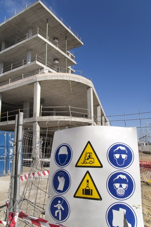 sign with the safety standards for construction work