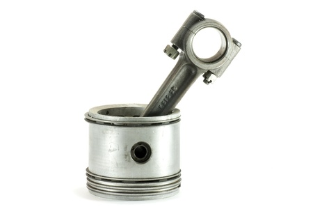 connecting rod: a piston with its connecting rod, engine out of a competition Stock Photo