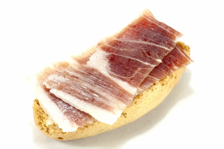 Iberian ham toast, typical of Spain