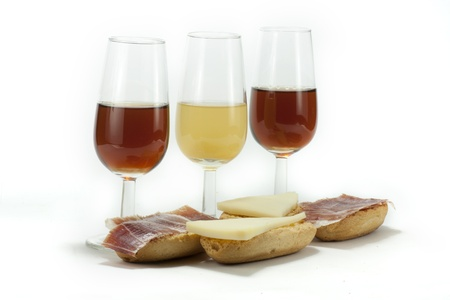 few glasses of Spanish wine, with a snack photo