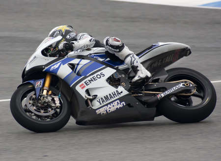 Moto GP rider Jorge Lorenzo running at Jerez Editorial