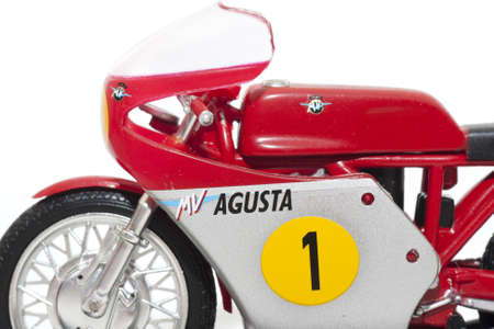 Replica of the motorcycle rider, Giacomo Agostini, in 1967, with which he was champion of the world of motorcycling Editorial