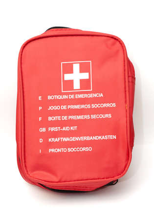 first aid box: bag of first aid kit, emergency