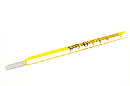 body temperature: a mercury thermometer, to determine body temperature