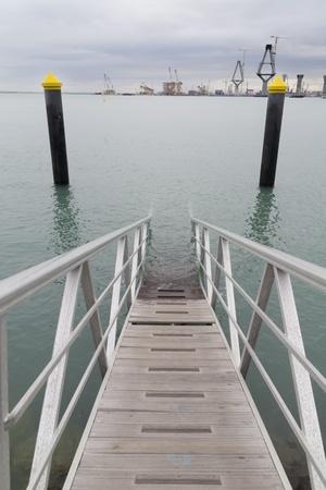 introduced: una escalera de mano que se introduce en el mar