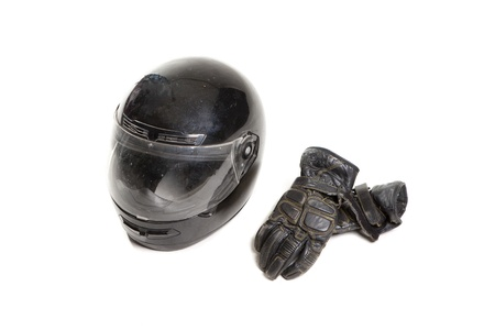 gloves and a helmet, protection for motorists Stock Photo