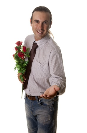 a man giving flowers to your partner photo