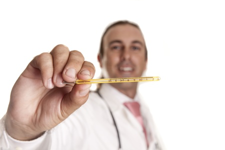 a doctor looking at body temperature with a thermometer Stock Photo - 14603093