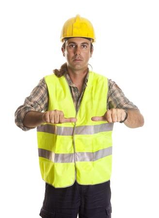 a longshoreman, making maneuvering signals to the crane