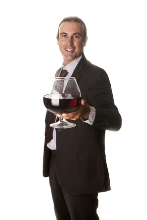 a sommelier with a giant glass of wine Stock Photo - 14779895