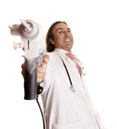 a crazy doctor with a drill Stock Photo - 14904194