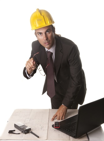 an architect in his office preparing the work plans Stock Photo - 14904201