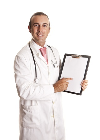 annotations: a doctor with his notebook Stock Photo