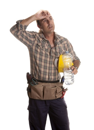 after to work: un trabajador de la construcci�n, cansado despu�s del trabajo