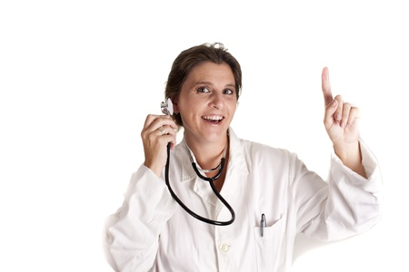 A funny doctor, checking his stethoscope Stock Photo - 15243548