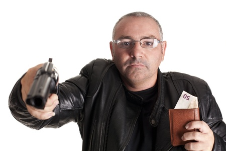 a thief, after docking at gunpoint Stock Photo - 15243553