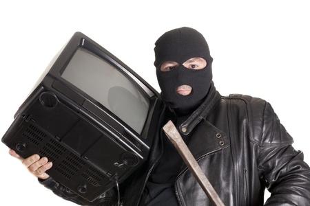 robo: un ladr�n rob� un televisor Foto de archivo