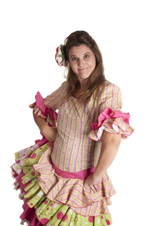 a girl with a Spanish costume, flamenco dress Stock Photo
