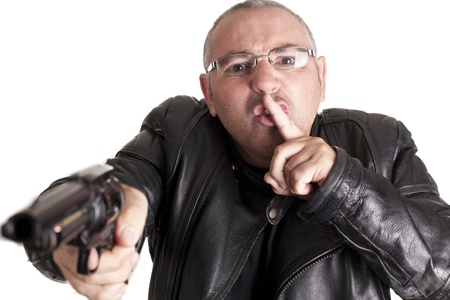 perpetrator: a thief, after docking at gunpoint Stock Photo