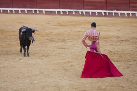 PUERTO SANTA MARIA, SPANIEN - SEPTEMBER 02: Der Stierkämpfer Curro Duran kämpft in der Plaza del Puerto. 2. September 2012 in Puerto Santa Maria, Spanien Standard-Bild - 15240170