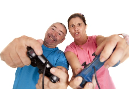 a couple playing a video game photo