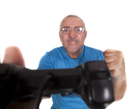 a man after having won a game with the console photo