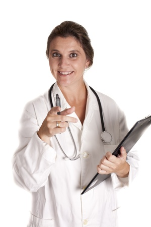 Smiling nurse pointing to a patient Stock Photo - 16005262
