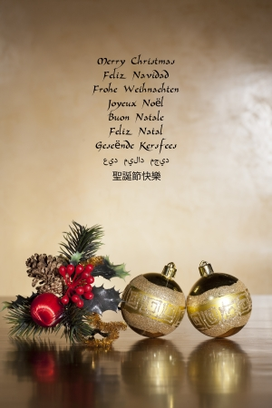 an image to congratulate Christmas in several languages photo