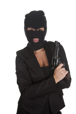 a robber pointing his gun, and for silence photo