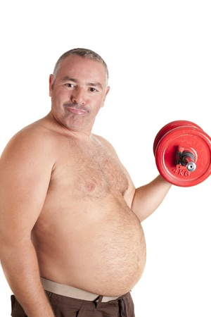 an obese man, exercising to get fit photo